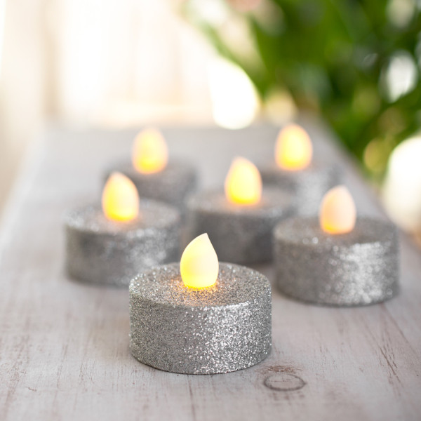 Silver-Glitter-Battery-Operated-LED-Tea-Lights